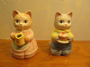 Porcelain Sugar and Creamer Cat Set Made by Avon Circa 1991 - Andres James Vintage Boutique