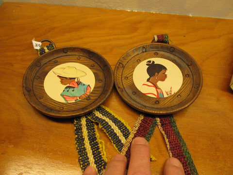 MADE IN TAIWAN PLAQUE OF MEXICAN BOY AND GIRL IN ROUND BROWN WOODED FRAME - Andres James Vintage Boutique
