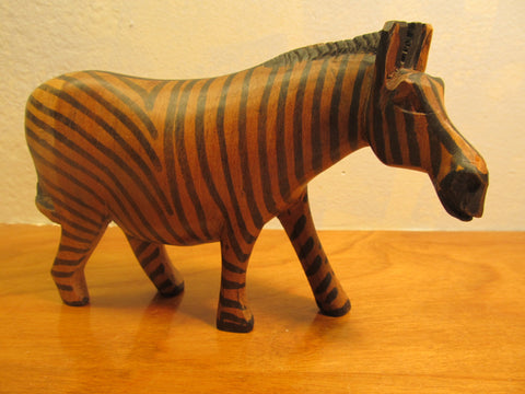 BEAUTIFUL WOODEN ZEBRA FIGURINE