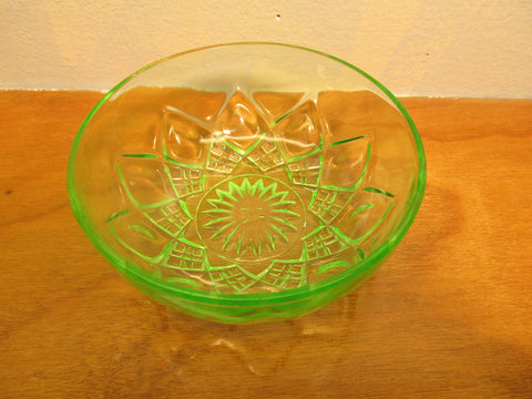 H.A. Green Vaseline Glass Small Serving Bowl