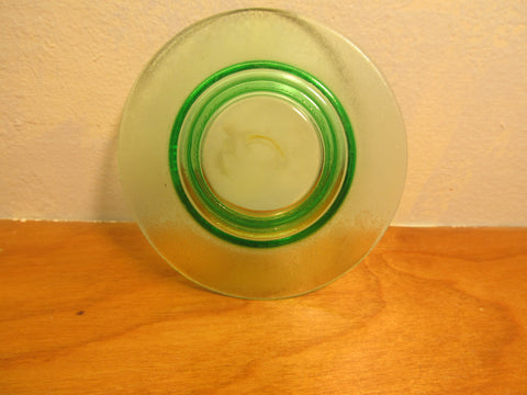 GREEN VASELINE GLASS ORANGE PEEL TEXTURE FRUIT OR SERVING BOWL