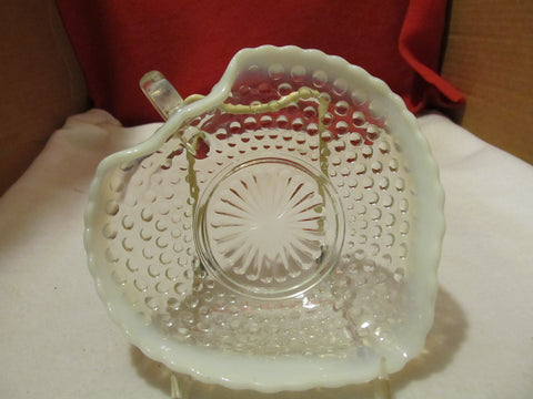 VINTAGE FENTON MOONSTONE OPALESCENT HEART SHAPED BONBON DISH - Andres James Vintage Boutique - 1