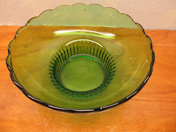 VINTAGE E.O. BRODY GREEN GLASS BOWL M 222 MADE IN CLEVELAND OHIO - Andres James Vintage Boutique - 2