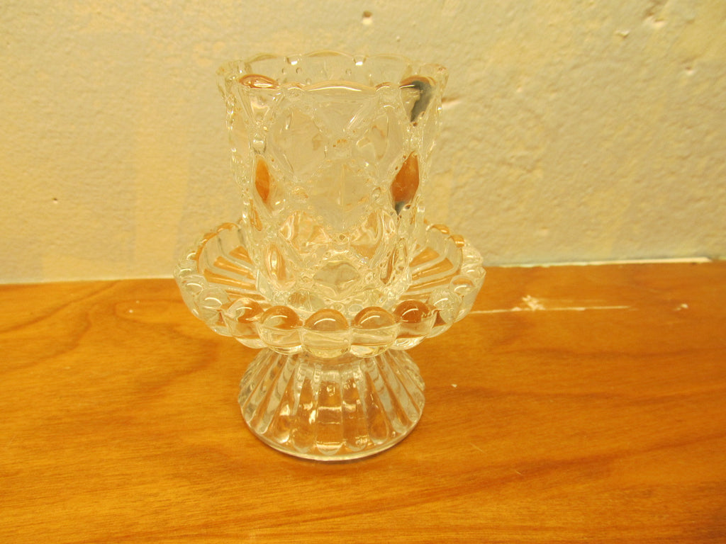 VINTAGE SMALL LEAD CRYSTAL CANDLE HOLDER - Andres James Vintage Boutique - 1