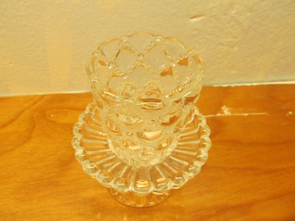 VINTAGE SMALL LEAD CRYSTAL CANDLE HOLDER - Andres James Vintage Boutique - 2