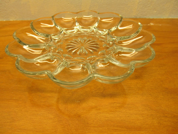 VINTAGE PRESSED GLASS EGG PLATE MADE IN THE USA - Andres James Vintage Boutique - 1