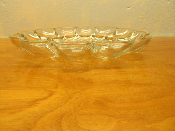 VINTAGE PRESSED GLASS EGG PLATE MADE IN THE USA - Andres James Vintage Boutique - 2