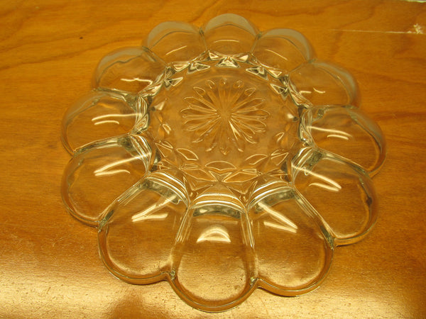 VINTAGE PRESSED GLASS EGG PLATE MADE IN THE USA - Andres James Vintage Boutique - 4