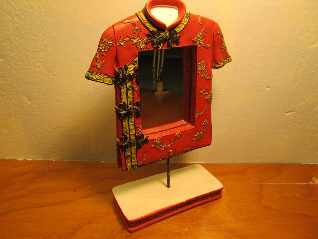 DRESSER MIRROR DECORATIVE LOOKS LIKE RED KIMONO - Andres James Vintage Boutique