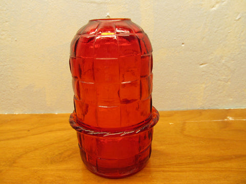 RED GLASS CANDLE HOLDER - Andres James Vintage Boutique