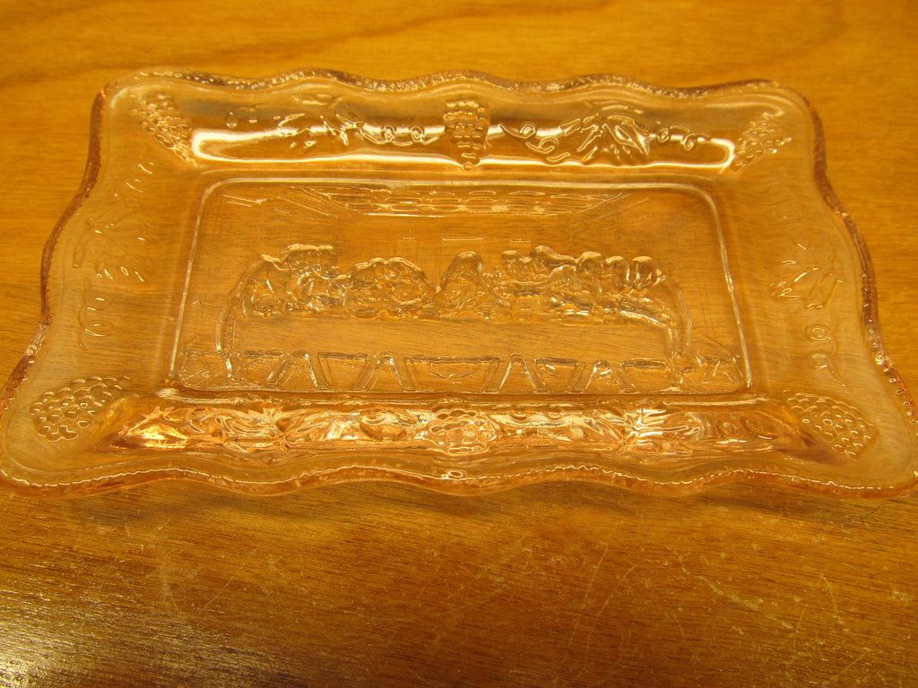 VINTAGE DRESSER TRAY WITH LAST SUPPER IN BOTTOM - Andres James Vintage Boutique - 1