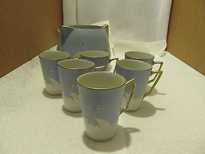 VINTAGE HAND PAINTED NIPPON LEMONADE PITCHER WITH SIX CUPS - Andres James Vintage Boutique - 6