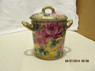 VINTAGE HONEYCOMB COVER WITH LID AND DOUBLE HANDLES TRIMMED WITH GOLD EDGING - Andres James Vintage Boutique - 1