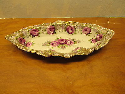 VINTAGE CELERY DISH WITH GOLD EDGING AND ROSE PATTERN - Andres James Vintage Boutique - 1