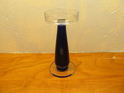 COBALT BLUE AND CLEAR CANDLE HOLDER - Andres James Vintage Boutique