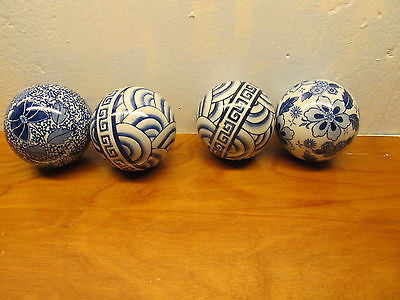 FLO BLUE SET OF FOUR DECORATIVE CHINA BALLS WITH DIFFERENT DESIGNS - Andres James Vintage Boutique