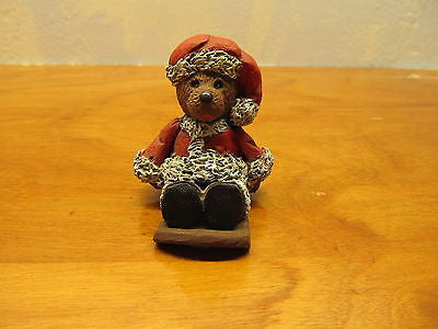 BEAR ON A SLED FIGURINE DRESSED IN SANTA SUIT - Andres James Vintage Boutique