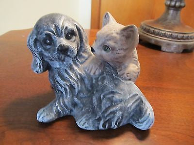 CERAMIC DOG AND CAT FIGURINE - Andres James Vintage Boutique