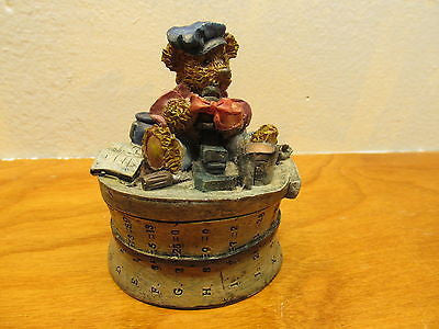 SMALL BEAR SITTING ON A BARREL TRINKET BOX - Andres James Vintage Boutique