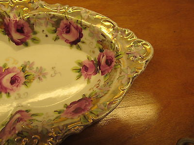 VINTAGE CELERY DISH WITH GOLD EDGING AND ROSE PATTERN - Andres James Vintage Boutique - 6