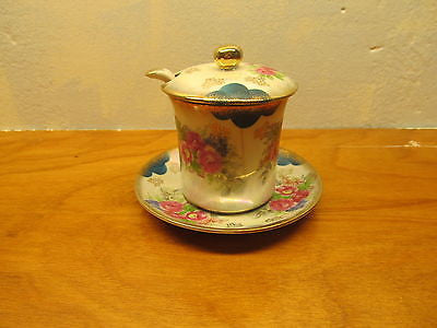 VINTAGE MUSTARD POT WITH LID, LADLE AND SAUCER - Andres James Vintage Boutique - 1