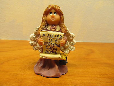 PLASTIC SISTER ANGEL FIGURINE HOLDING A PLAQUE FOR YOUR SISTER - Andres James Vintage Boutique