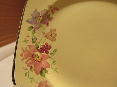 VINTAGE HOME LAUGHTER CAKE PLATES # L-33NP YELLOW WITH FLORAL DESIGN - Andres James Vintage Boutique - 3