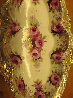 VINTAGE CELERY DISH WITH GOLD EDGING AND ROSE PATTERN - Andres James Vintage Boutique - 5