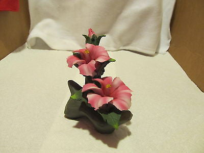 LARGE PORCELAIN PINK ORCHIDS ON A BRANCH FIGURINE - Andres James Vintage Boutique