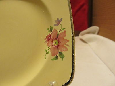 VINTAGE HOME LAUGHTER CAKE PLATES # L-33NP YELLOW WITH FLORAL DESIGN - Andres James Vintage Boutique - 4