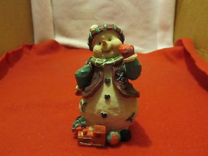 Snowman Figurine with Toy Train - Andres James Vintage Boutique