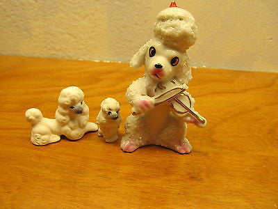 VINTAGE SPAGHETTI STYLE POODLES TWO WITH BLUE FACES - Andres James Vintage Boutique - 1