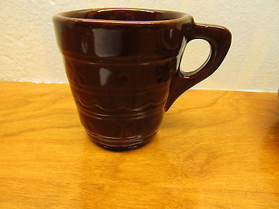VINTAGE McCOY DARK BROWN POTTERY CUP MADE IN THE USA - Andres James Vintage Boutique - 1