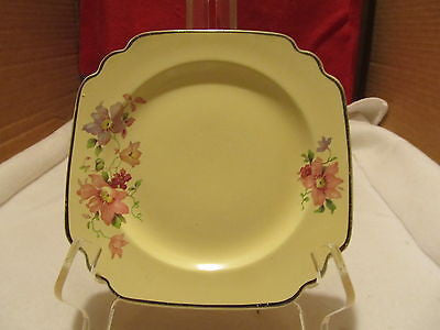 VINTAGE HOME LAUGHTER CAKE PLATES # L-33NP YELLOW WITH FLORAL DESIGN - Andres James Vintage Boutique - 1
