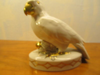 RARE BIRD INDEED! VINTAGE ROSENTHAL WHITE AND GOLD PARROT #44 - Andres James Vintage Boutique