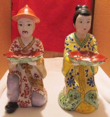 VINTAGE MADE IN CHINA KNEELING MAN AND WOMAN FIGURINES IN EXCELLENT CONDITION - Andres James Vintage Boutique - 1