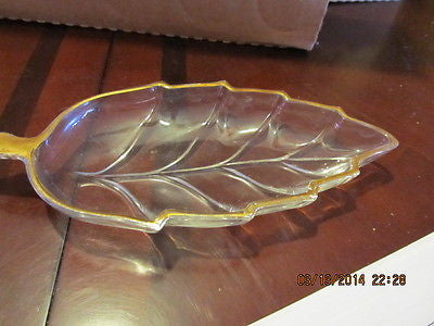 VINTAGE PRESSED GLASS GOLD TRIMMED LEAF SHAPED CANDY DISH - Andres James Vintage Boutique - 1