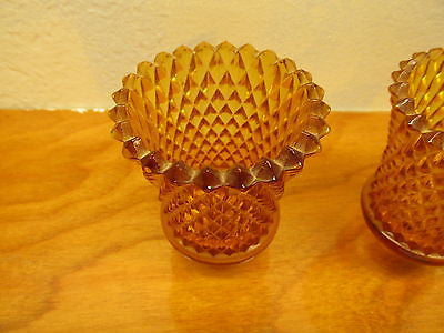 vintage small candle holder glass with out the holders a set - Andres James Vintage Boutique - 2
