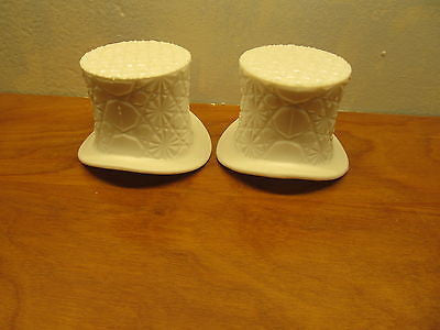 A SET OF TWO WESTMORELAND MILK GLASS TOP HATS LARGE SIZE - Andres James Vintage Boutique
