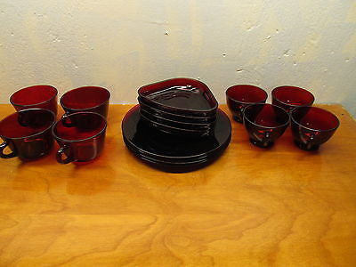 ANCHOR HOCKING ROYAL RUBY PUNCH SET - Andres James Vintage Boutique