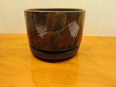 POTTERY CRAFT FLOWER POT WITH RING WATER BASE MADE IN THE USA # P612 - Andres James Vintage Boutique