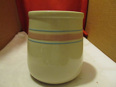 VINTAGE BANDED McCOY CROCK WITH PINK AND TURQUOISE BANDS - Andres James Vintage Boutique - 1