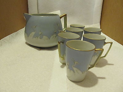 VINTAGE HAND PAINTED NIPPON LEMONADE PITCHER WITH SIX CUPS - Andres James Vintage Boutique - 1