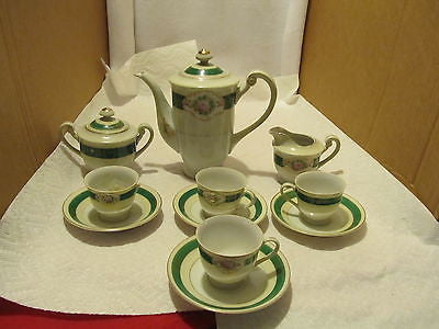 VINTAGE COMPLETE  OCCUPIED JAPAN TEA SET WITH CUPS. SAUCERS, TEA POT, SUGAR AND CREAMER - Andres James Vintage Boutique - 1