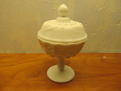 VINTAGE WESTMORELAND MILK GLASS PEDESTAL CANDY DISH - Andres James Vintage Boutique - 1