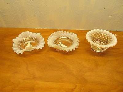 VINTAGE FENTON WHITE OPALESCENT HOBNAIL RUFFLED DISH WITH TWO SMALLER DISHES - Andres James Vintage Boutique - 1
