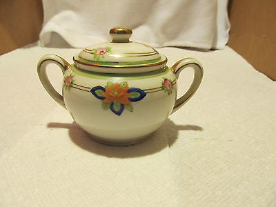 HAND PAINTED VINTAGE NIPPON SUGAR BOWL WITH LID - Andres James Vintage Boutique