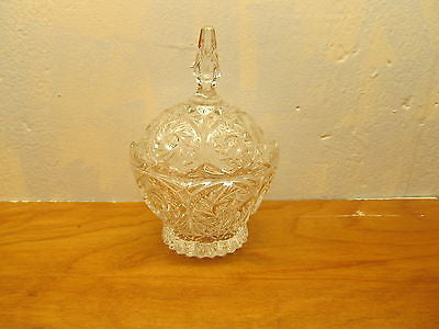 VINTAGE CRYSTAL CANDY DISH WITH SAW TOOTH EDGE AND LID - Andres James Vintage Boutique - 1