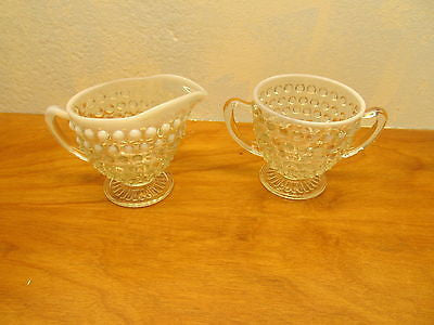 OPALESCENT WHITE VINTAGE FENTON HOBNAIL CREAMER AND SUGAR SET - Andres James Vintage Boutique