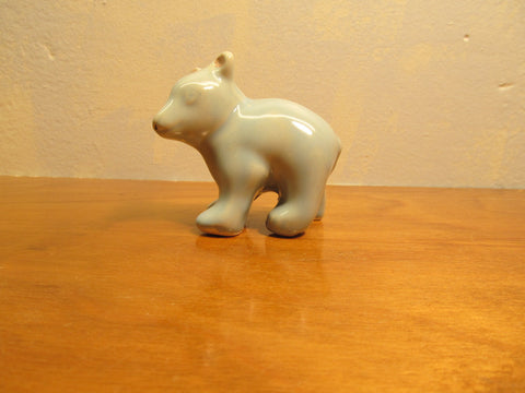 BLUE CERAMIC BEAR FIGURINE
